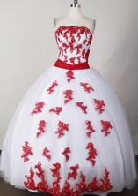 Sweet Ball Gown Strapless Floor-length White Quinceanera Dress LJ2632