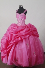 Sweet Ball Gown Straps Floor-length Hot Pink Quincenera Dresses TD260034