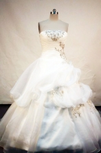 The Super Hot ball gown strapless chapel white organza appliques with beading quinceanera dresses FA-X055