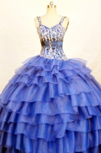 The most Popular Ball Gown Strap Floor-length Blue Quinceanera Dresses Style FA-W-407