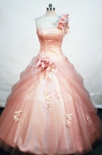 The most Popular ball gown one shoulder floor-length appliques orange red quinceanera dress FA-X-035