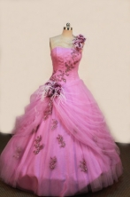 Wonderful Ball gown One Shouler Neck Floor-length Quinceanera Dresses Appliques with Beading Style FA-Z-0076