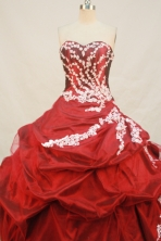 Wonderful Ball gown Sweetheart Floor-length Taffeta Wine Red Quinceanera Dresses Appliques Style FA-Y-0065
