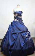 Wonderful ball gown strapless floor-length  appliques navy blue taffeta quinceanera dress FA-X-023