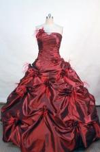 Wonderful ball gown strapless floor-length wine red taffeta quinceanera dress FA-X-52