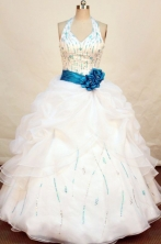 beading sash with turquoise white quinceanera dress FA-X-023