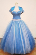 Beautiful Ball gown Strap Floor-length Tulle Blue Quinceanera Dresses Style FA-W-154
