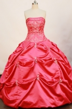 Cheap Ball Gown Strapless Floor-length Taffeta Hot Pink Quinceanera Dresses Style FA-W-168
