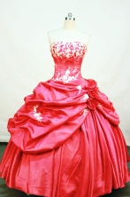 Cheap Ball gown Strapless Floor-length Taffeta Red Quinceanera Dresses Style FA-W-116