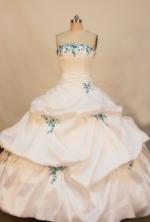 Cheap Ball gown Strapless Floor-length Taffeta White Quinceanera Dresses Style FA-W-137