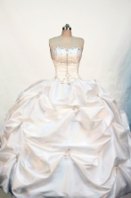 Discount Ball gown Strapless Floor-length Taffeta White Quinceanera Dresses Style FA-W-132