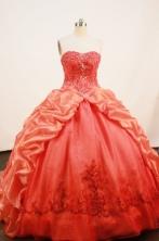 Exquisite Ball Gown Strapless Sweep Train Taffeta Orange Quinceanera Dresses Style FA-W-194
