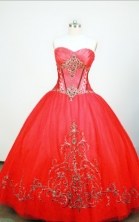 Exquisite Ball gown Strapless Floor-length Red Quinceanera Dresses Style FA-W-091