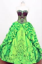 Exquisite Ball gown Strapless Floor-length Taffeta Green Quinceanera Dresses Style FA-W-089