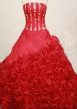Exquisite Ball gown Strapless Sweep Train Organza Hot pink Quinceanera Dresses Style FA-W-190