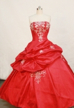 Popular Ball Gown Strapless Floor-length Organza Red Quinceanera Dresses Style FA-W-181