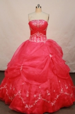 Popular Ball gown Strapless Floor-length Organza Red Quinceanera Dresses Style FA-W-139
