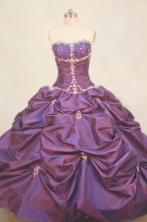 Popular Ball gown Strapless Floor-length Taffeta Purple Quinceanera Dresses Style FA-W-098