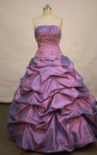 Popular Ball gown Strapless Floor-length Taffeta Purple Quinceanera Dresses Style FA-W-149