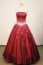 Unique A-line Strapless Floor-length Satin Burgundy Quinceanera Dresses Style FA-W-130