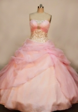 Wonderful Ball gown Strapless Floor-length Organza Baby pink Quinceanera Dresses Style FA-W-120