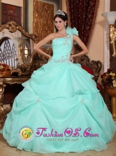 2013 Aguascalientes Mexico Fashionable Baby Blue One Shoulder Sweet 16 Dress With Appliques and Pick-ups For Formal Evening Style QDZY640FOR