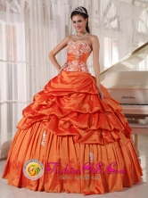 Allende Mexico Spring Wholesale Rust Red Quinceanera Dress With Pick-ups Sweetheart Taffeta Appliques Decorate  Style PDZYLJ009FOR