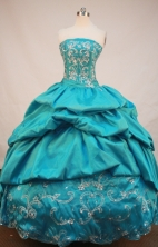 Beautiful Ball Gown Strapless Floor-Length Blue Pink Appliques and Beading Quinceanera Dresses Style FA-S-144
