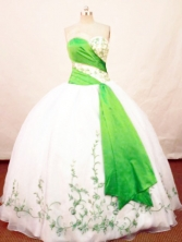 Beautiful Ball Gown Sweetheart Neck Floor-length Organza White And Green Quinceanera Dresses Style FA-C-001