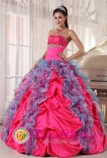 Boca del Rio Mexico Wholesale Multi-color Quinceanera DressBeading and Ruffles Decorate Organza and Taffeta in 2013 Spring Style PDZY532FOR