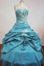 Brand new Ball Gown Strapless Floor-Length Blue Beading and Appliques Quinceanera Dresses Style FA-S-185