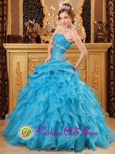 Campeche Mexico Inexpensive Sky Blue Strapless Quinceanera Dress Beaded Ruffled for 2013 Autumn Style QDZY033FOR