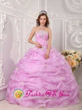 Ciudad Valles Mexico lavender Organza Quinceanera Dress Strapless Appliques Layered Pick-ups Ball Gown Style QDZY075FOR