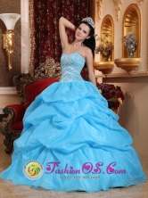 Ciudad Victoria Mexico Aqua Blue Ball Gown Sweetheart Floor-length Organza Beading Quinceanera Dress For 2013 Summer Style QDZY268FOR