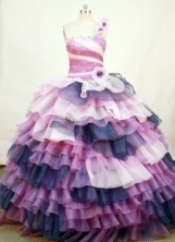 Exclusive Ball Gown One Shoulder Neck Floor-length Organza Colorfull Quinceanera Dresses Style FA-C-024