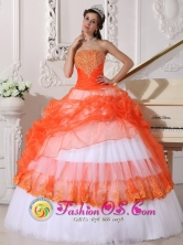 Ixtapaluca Mexico Exquisite Appliques Decorate Bodice Beautiful Orange and White Quinceanera Ball Gown Dress For 2013 Strapless Taffeta and Organza Style QDZY564FOR