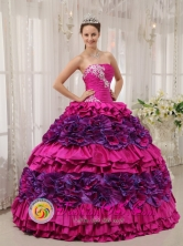 Jiutepec Mexico Cheap Fuchsia strapless Quinceanera Dress With white Appliques Decorate in Spring Style QDZY448FOR