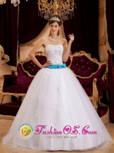 Los Cabos Mexico Sashes and Appliques Decorate Bodice For Strapless white Tulle Quinceanera Dress Style QDZY146FOR