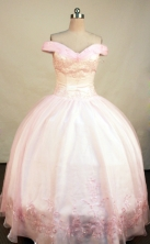 Lovely Ball Gown Off The Shoulder Neckline Floor-Length Baby Pink Beading and Appliques Quinceanera Dresses Style FA-S-190