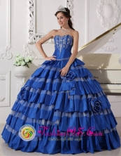 Merida Mexico Sweetheart For Blue Stylish Spring Quinceanera Dress With Ruffles Layered and Embroidery Style QDZY478FOR