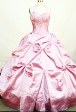 Perfect Ball Gown Halter Top Neck Floor-length Taffeta Pink Quinceanera Dresses Style FA-C-005