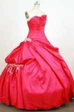 Perfect Ball Gown Strapless Floor-Length  Red Applqiues Quinceanera Dresses Style FA-S-374
