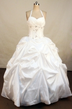Popular Ball Gown Halter Top Neck Floor-Length White Beading and Appliques Quinceanera Dresses Style FA-S-189
