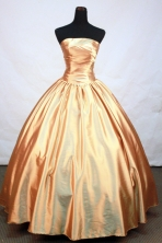 Popular Ball Gown Strapless Floor-Length Gold Quinceanera Dresses Style FA-S-178