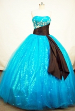 Popular Ball Gown Strapless Floor-length Tulle Aqua BlueQuinceanera Dresses Style FA-C-017