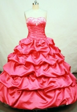 Popular Ball Gown Sweetheart Neck Floor-length Taffeta Hot Pink Quinceanera Dresses Style FA-C-004