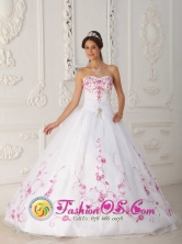 Puebla Mexico 2013 Spring Satin and Organza With Embroidery Cute White Quinceanera Dress Strapless Ball Gown Style QDZY298FOR