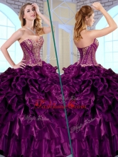 Simple Ball Gown Sweetheart Ruffles and Appliques Quinceanera Gowns QDDTK1002FOR