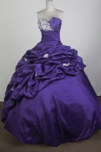 Exquisite Ball Gown Strapless Floor-length Purple Quinceanera Dress   LZ426041