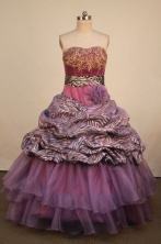 Affordable Ball Gown Strapless Floor-Length Purple Beading Quinceanera Dresses Style FA-S-296